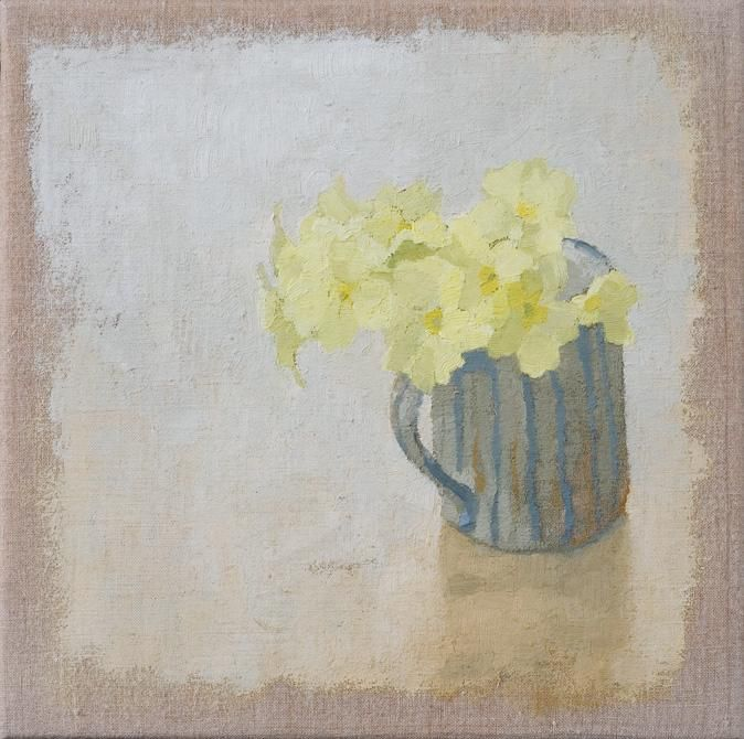 Primroses - Sarah Gillespie. Oil on linen