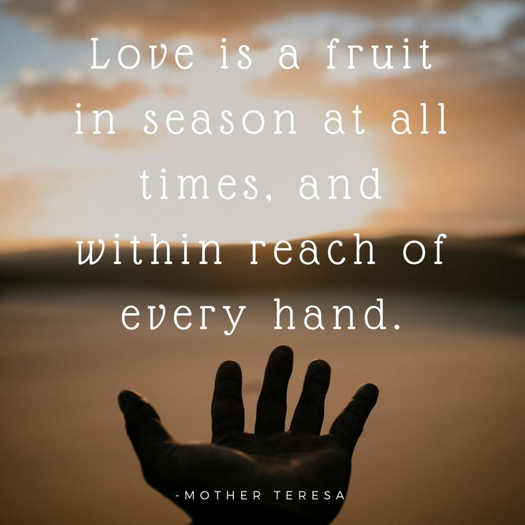 Heart Warming Quotes. Mother Teresa quotes. Love is a fruit in season at all times, and within reach of every hand.