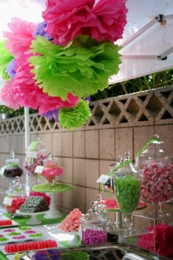 candy buffet   the tissue flowers were nice would look great rainbows!!