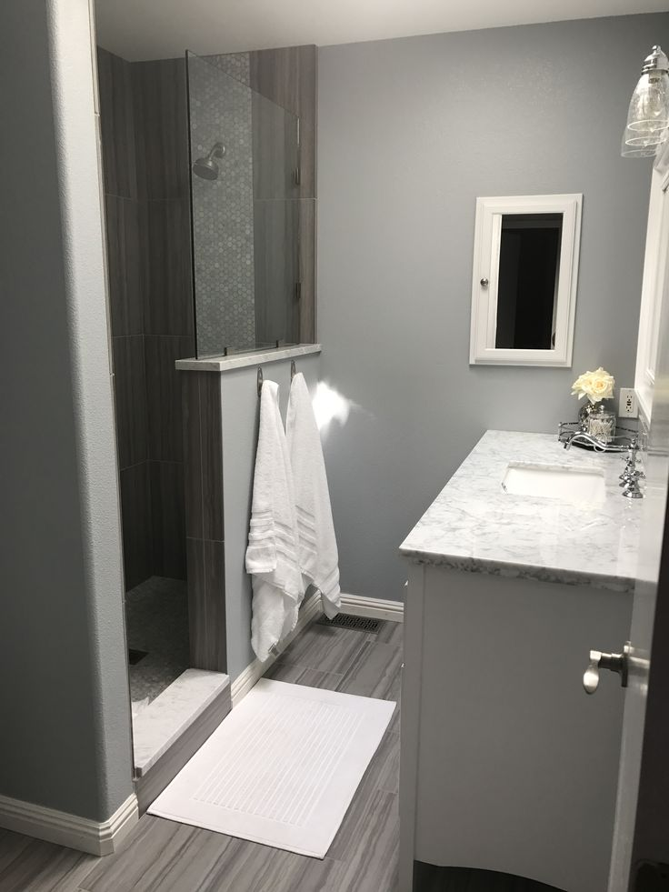 gray walk in shower no door i took out the tub shower combo and built this