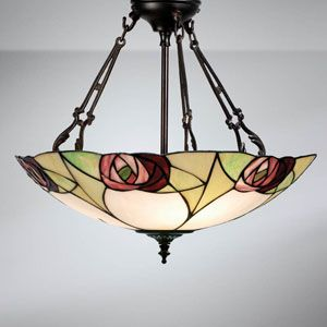 Interiors 1900 Ingram 3 Light Large Uplighter Tiffany Ceiling Pendant With Rose Detail