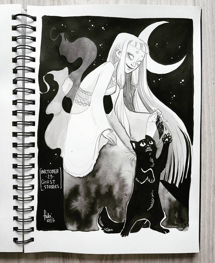 [ Day 23 - ghost stories ] . Somebody once told me that cats can see ghosts  Here's a ghost girl playing with her cat  . Inktober is almost over but I still have some prompts to finish!  . #inktober2017 #inktober #witchtober #witchtober2017 #tintaplastyczna
