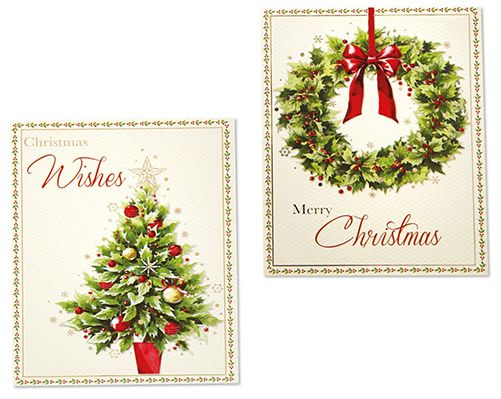 Traditional Wreath & Tree Christmas Cards £3  Pack of 12 cards. 2 designs. H14cm x W14cm. Message inside 'Wishing You A Very Merry Christmas'.  Code: 907669  Kleeneze KLife