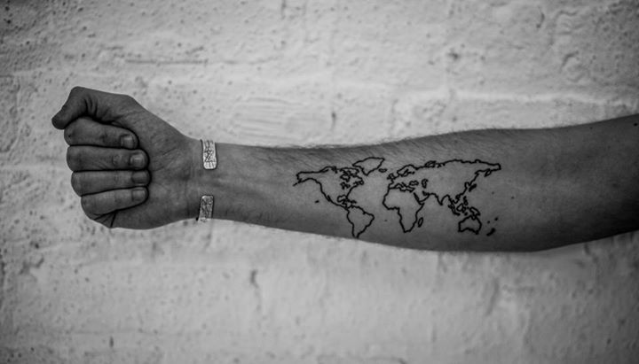62 best map tattoo images on pinterest tattoo ideas map tattoos black outline world map tattoo on forearm gumiabroncs Gallery