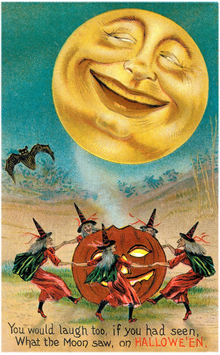 Full Moon & Witches Dancing Around Jack O'Lantern Vintage Halloween Postcard