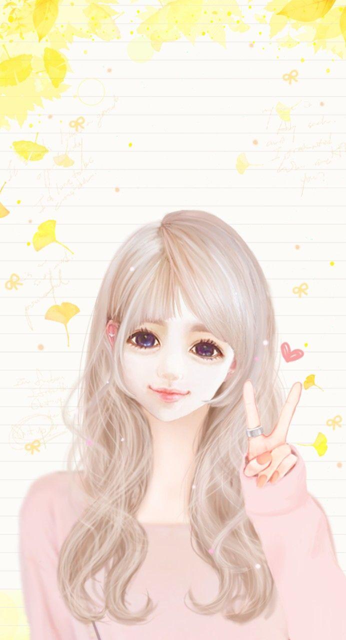 Enakei cute girls pinterest anime wallpaper and kawaii - Cartoon girl wallpaper ...