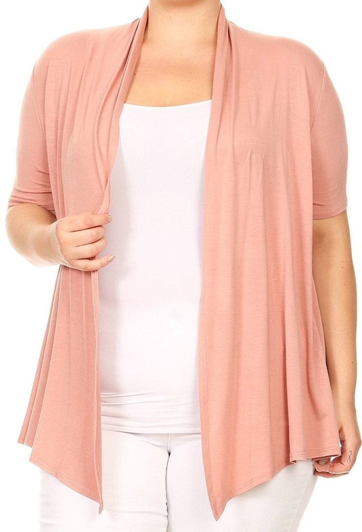 Women Plus Size Short Sleeve Cardigan Open Front Casual Cover Up – Dusty Rose – C7186573ZUD