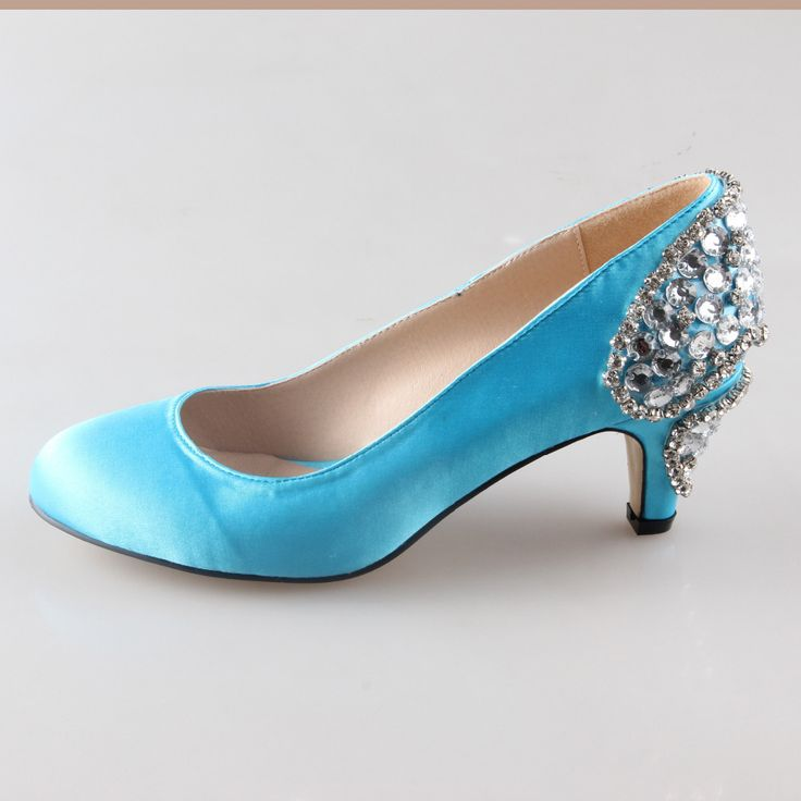 Handmade aqua sky blue sewed crystal heels rounded toe woman wedding party prom shoes bridal dress shoes lake blue shoes 6cm