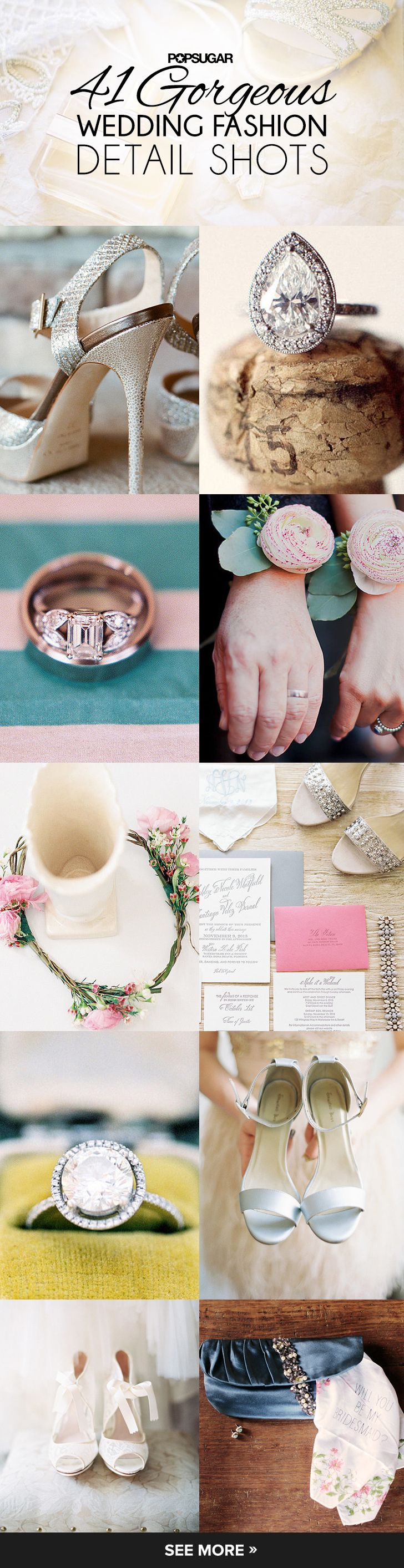 Ideas for gorgeous photos of all your wedding accessories (think rings, shoes, and jewelry) #weddingphotoideas