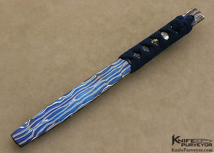 "David Goldberg Custom Japanese War Fan ""Tessen"" Sole Authorship Blued Damascus - David Goldberg custom knife - image 1"