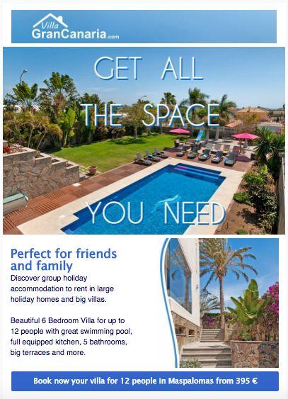 Newsletter diseñado para promoción de casas vacacionales en Gran Canaria, Islas Canarias. Diseño, turismo, alojamiento, hotel, Maspalomas.