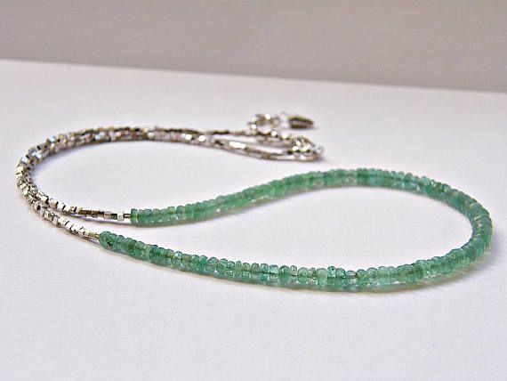 Emerald necklace, May birthstone, emerald silver necklace, Zambian emerald beaded necklace, Thai Karen silver necklace, green necklace