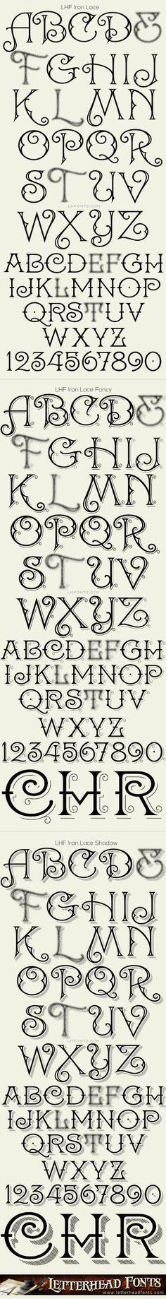Briefkopf Schriftarten / Eisen Spitze Schriftsatz / dekorative Schriftarten