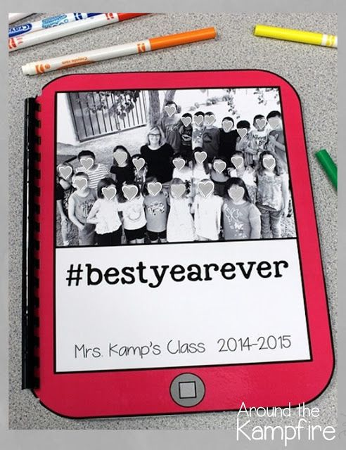 Editable Hashtag Memory Book for Teachers~Make one with your class by having a Hashtag Hop! Insert your favorite class pictures into the editable templates and have students hop around the room adding hashtags to all the pictures!