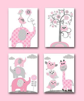 Playroom Decor Elephant Nursery Decor Baby Shower Gift Kids Art for Children Kids Wall Art Baby Girl Nursery Print set of 4 8x10 Pink Gray