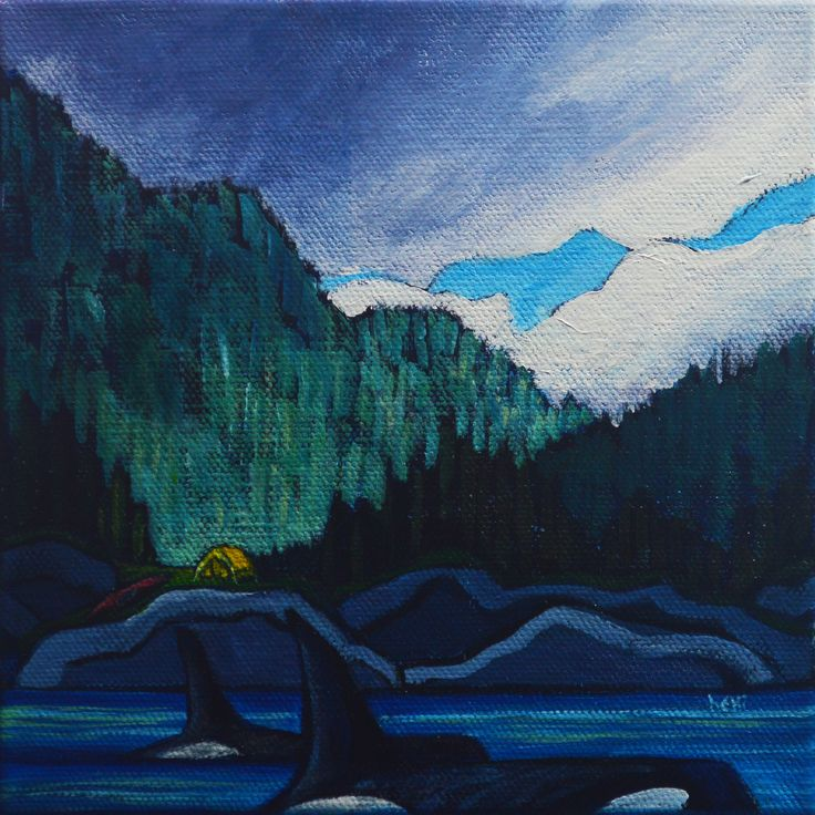 """just the right camping spot"" 6x6"" acrylic on canvas"