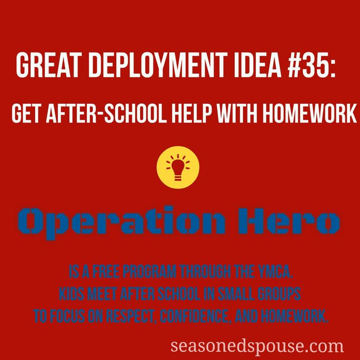 Get after-school help with homework: Deployment Idea 35. Do you and your kids fight about homework? Tired of seeing their bad attitude? This is a helpful program for military kids and military families.