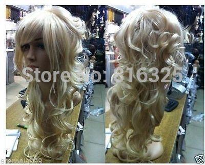 БЕСПЛАТНО P & P> Стильный длинные светлые вьющиеся здоровые волосы леди парик