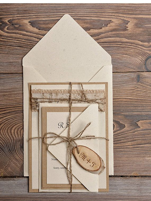 Rustic Eco Wedding Invitations (20), Wedding Invitation Suite, Wood Rustic Invites, Country Style Wedding, Shabby Chick Invites
