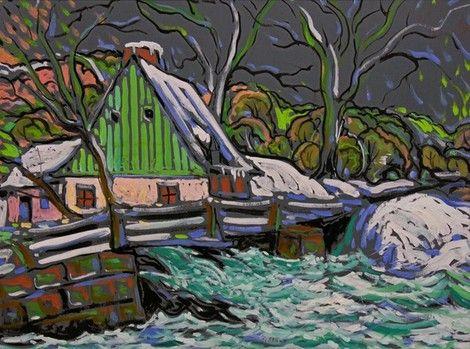 Marc-Aurèle Fortin, House by a Stream in Winter on ArtStack #marc-aurele-fortin #art