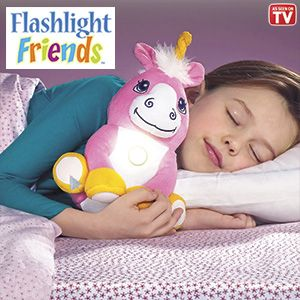 "Product # HC6653 - Huggable, lovable playmates turn on with just a tap! Kids will never feel alone in the dark when this cuddly, plush pal's comforting light is glowing. Cool-to-the-touch flashlight has a 10-minute auto shut-off feature. Great at bedtime; makes a fun reading light too! Requires 3-AAA batteries (not included). Ages 4+. Approx. 9""H.   $27.98"