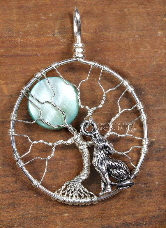 Howling Wolf Full Moon Tree of Life Pendant by PhoenixFireDesigns, $60.00
