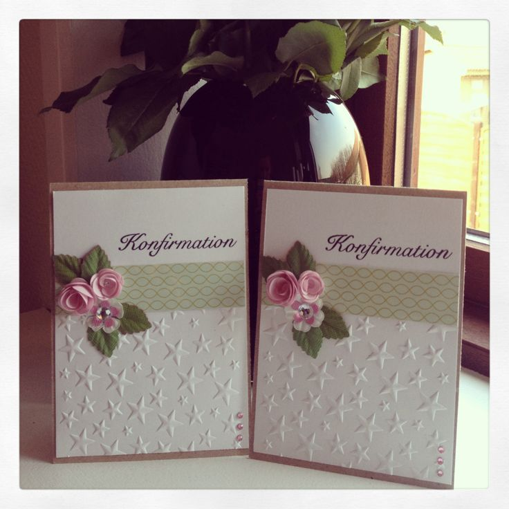 Kort konfirmation roser blade blomster - card communion flowers roses