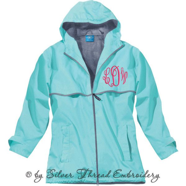 Monogram Rain Jacket Personalized Charles River Womens ($55) ❤ liked on Polyvore featuring activewear, activewear jackets, outerwear and sweatshirts