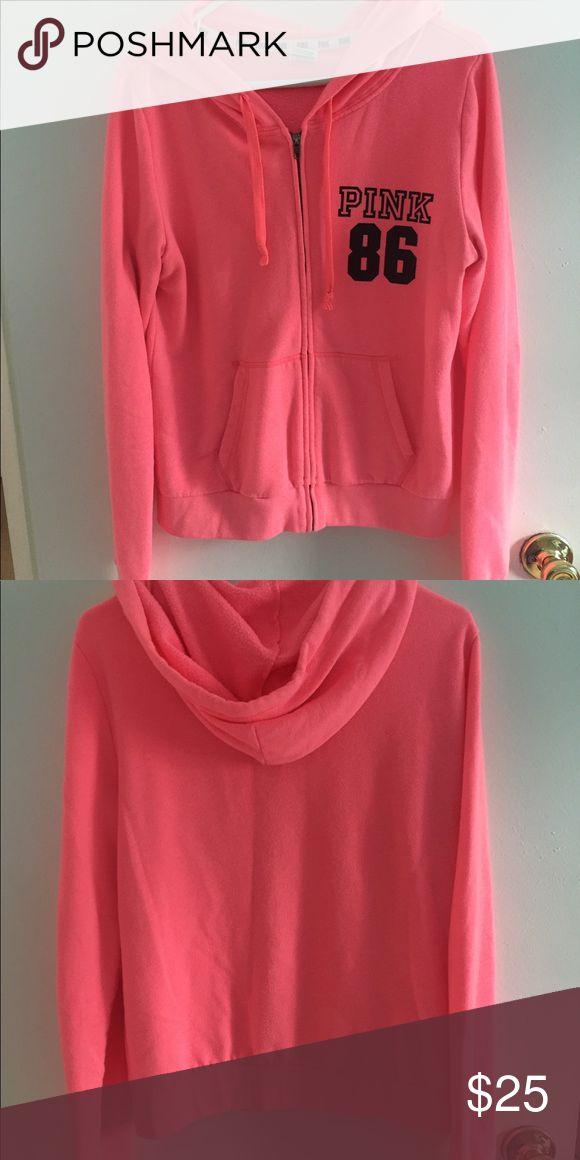 PINK zip up hoodie. Victoria's Secret PINK zip up hoodie.                        60% Cotton and 40% Polyester. PINK Victoria's Secret Tops Sweatshirts & Hoodies