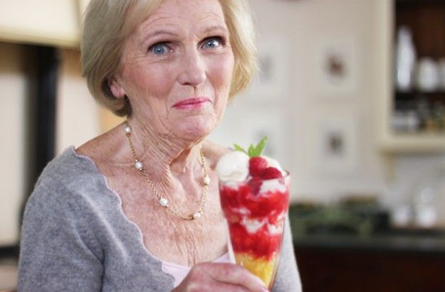 Mary Berry's Knickerbocker Glory ~ sundae/parfait w/fresh pineapple & raspberries ~ 5 homemade ice cream variations including vanilla, ginger, rum raisin, berry, or coffee-brandy | recipe via Good to Know