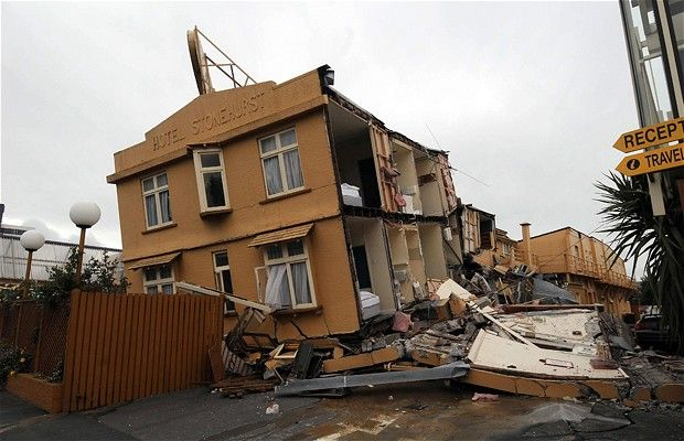 Hotel Stonehurst backpackers hotel lies wrecked in the inner city of Christchurch, New Zealand after the earthquake