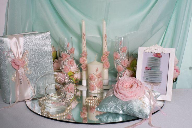 Комплект атрибутов ручной работы с розами  из полимерной глины  #свадьбы #атрибуты #аксессуары #розовый #ручная_работа #soprunstudio