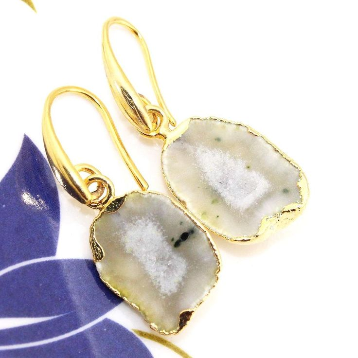 H2275 Halloween Sale Natural Lemon Geode Druzy 24k Gold Plated Earring Jewelry #Handmade #DropDangle