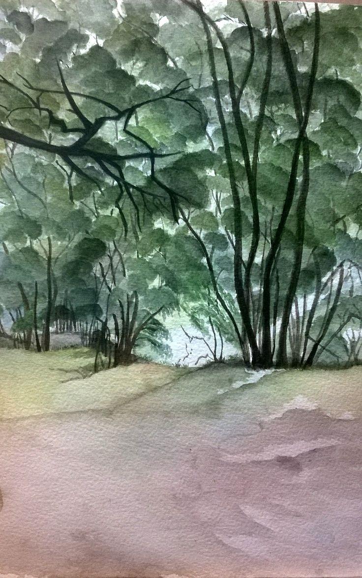 Fosterton Trees. Watercolour 30 x 21cm  doodieherman.com SOLD