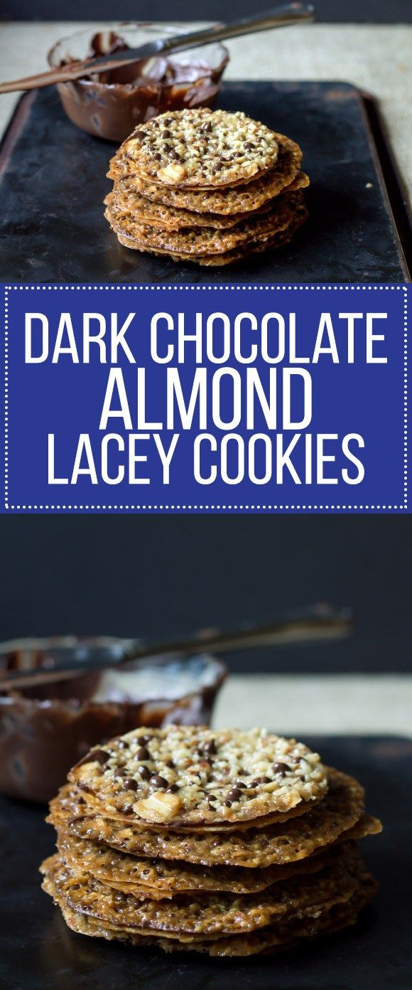 These Dark Chocolate Almond Lacey Cookies are easy, crunchy, & delicious! Dark chocolate slathered between two thin, crunchy cookies for a sweet treat.