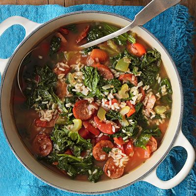 Kale Soup with Andouille Sausage. Used garbanzo beans and skipped rice ...