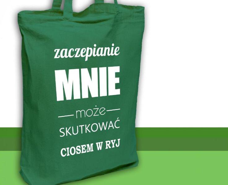 Bawełniana EKO torba na zakupy ZACZEPIANIE zielona