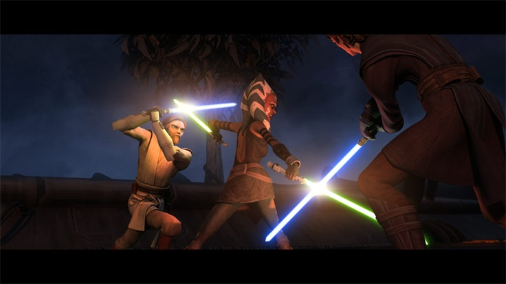 Ahsoka fights Obi-Wan and Anakin after being turned to the ...