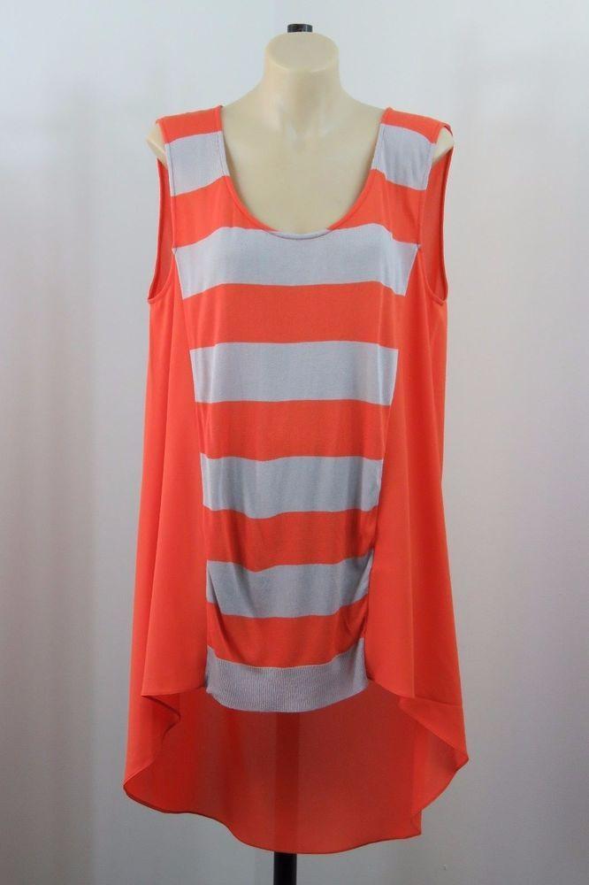 Size L 14 Chelsea Ladies Orange Top Tunic Stripe Feminine Business Casual Design #Chelsea #Tunic #Casual