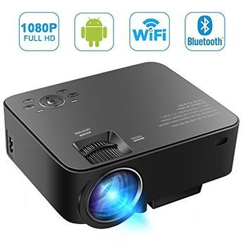 [Build-in Android OS] MAXESLA Smart Android Mini Projector 1080P Wifi Home Cinema Theater Full HD 1500 Lumens Movie Entertainment Support TV, DVD Player, Laptops, PC, Tablets, USB Drive, Headphone 【Forget the HDMI cabel】 - The new mini projector built-in Android 4.4 system, WiFi & Bluetooth features, connect to internet via Wi-Fi or LAN cable directly to download apps, watch online video without connecting any device, provides real intelligent lifes. Enjoy the video & audio entertai..