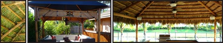Tiki hut, palm frond roof, thatch roof, backyard sitting area