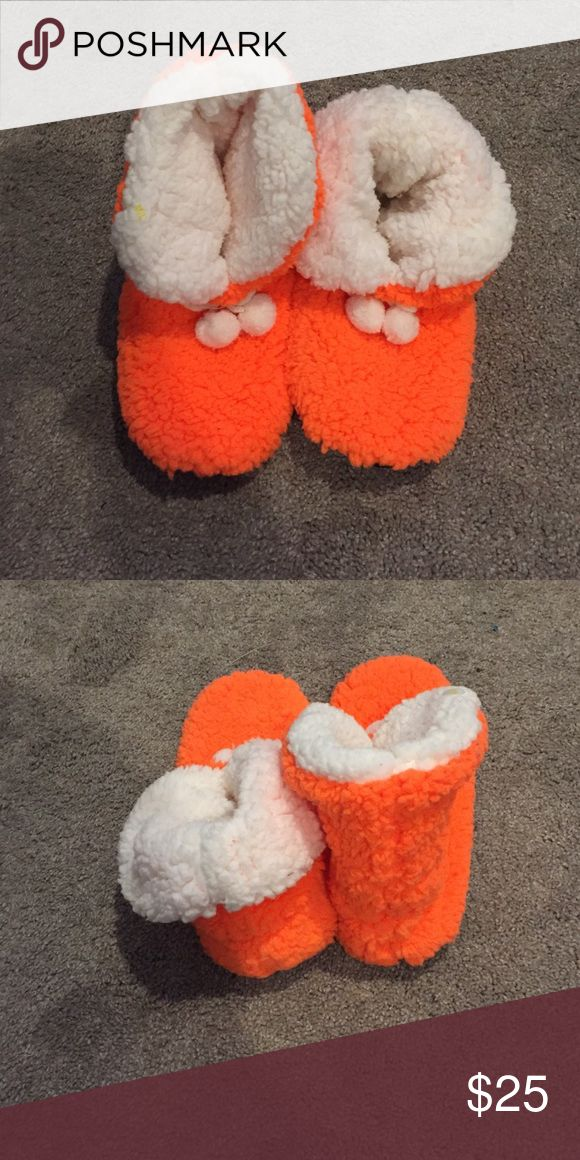 Neon Orange Slippers Neon Orange slippers - never been worn Shoes Slippers