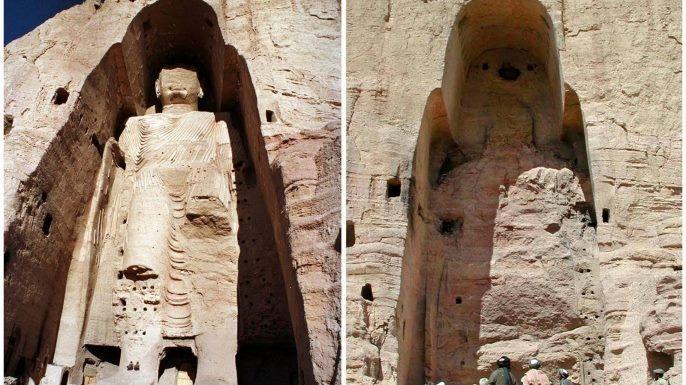 Los budas de Bamiyan, construido en el siglo 6. -Destruido por talibanes en el 2001-