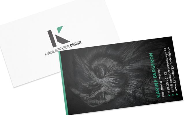 Logo and business cards for Karine Bergeron Design, interior designer in Gatineau, www.karinebergerondesign.ca