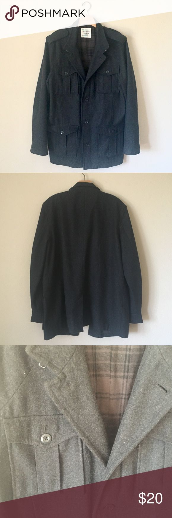 Old Navy Men's charcoal gray pea coat, size XL Old Navy Men's charcoal gray pea coat, size XL. Measurements: length 32.5 inches, shoulder to shoulder laying flat 19 inches, sleeve 27 inches. This coat has multiple pockets and is made of a heavy material. Military-inspired design. Made of wool, polyester, and cotton. Excellent condition other than the writing on the inside tag. Old Navy Jackets & Coats Pea Coats