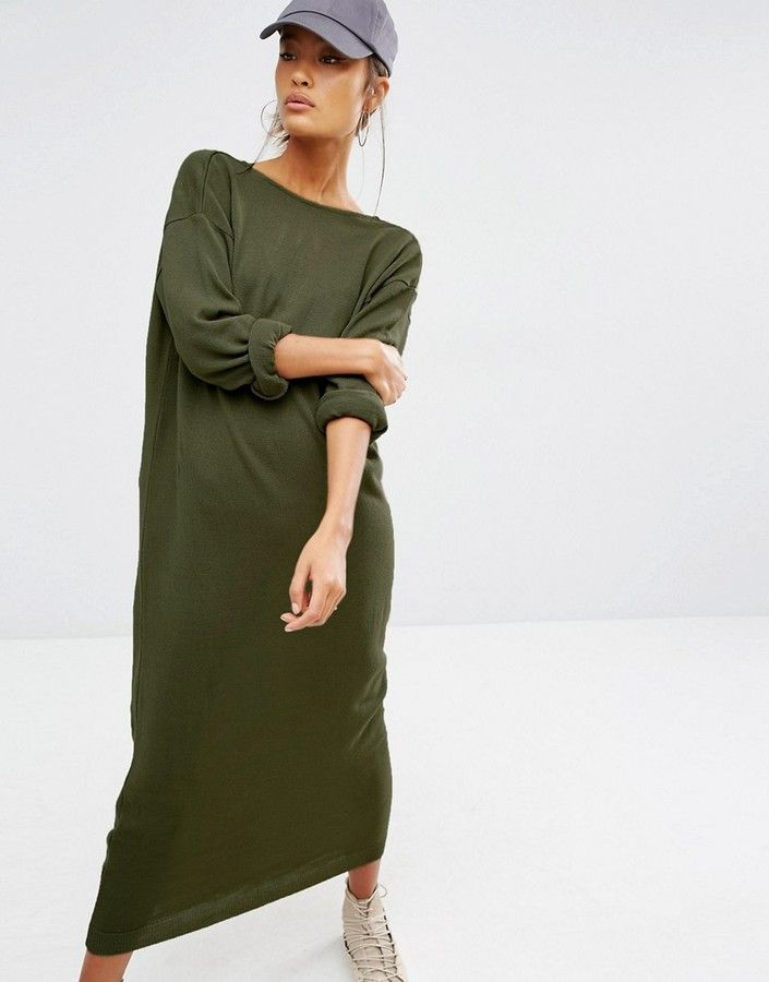 Daisy Street Relaxed Knitted Sweater Dress With Deep V Back