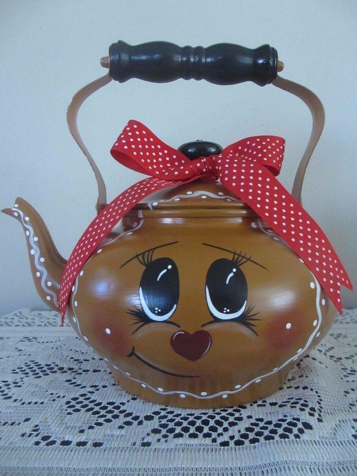 * OOAK* Hand painted* Gingerbread Man* Copper* Tea Kettle/Pot* Christmas*