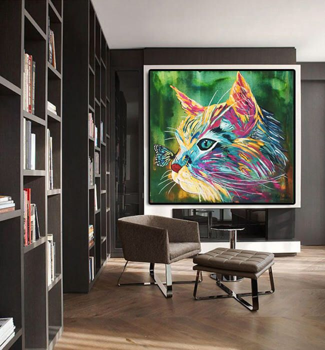 Le chouchou de ma boutique https://www.etsy.com/ca-fr/listing/564095149/cat-print-canvas-stretched-ready-to-hang