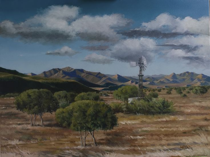 Landscape of extraordinary mountain range in the South African Karoo. Oil on canvas.