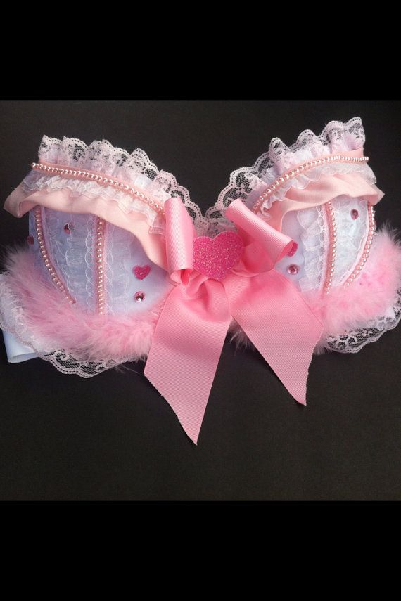 Baby Pink Valentines Day Rave Bra by LilysCosmicKreations on Etsy